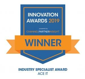ACE IT Solutions named as the Industry Specialist at the Channel Partner Insight Channel Innovation Awards 2019 LOGO WINNER Industry Specialist Award 300x278